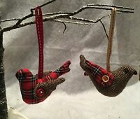 Tartan Or Herringbone Fabric Bird Christmas Tree Hanging Decorations Vintage