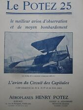 1926-1927 PUB AEROPLANE HENRY POTEZ 25 AVION OBSERVATION BOMBARDEMENT FRENCH AD