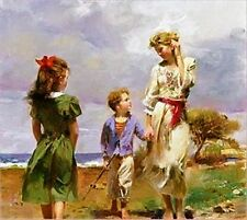 "Pino Giclee on Canvas Hand S/# ""Seaside Retreat"" Mother Children Beach coa 28x28"