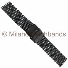 22mm Milano PVD Black Shark Mesh Push Button Fold Over Divers Clasp Watch Band