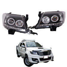 Fit 12-15 Toyota Hilux Sr5 Vigo Head Lamp Light Projector Led Drl Black Tint