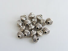 25 x Tibetan Style Bicone Spacer Beads Antique Silver Tone 7mm x 6.5mm  LF NF