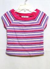 pre-owned AMY BYER girls Acrylic Blend short sleeve Pink Striped Shirt sz 4 GUC
