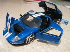 FORD GT FAST AND FURIOUS BLUE CAR DIE CAST 1:24 SCALE JADA CHROME WHEELS