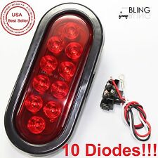 "6"" LED Red Oval Oblong Stop Turn Tail Light w/ Plug For Trailer Truck RV Sealed"