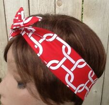 Red Chain Dolly Bow Wired Print Rockabilly Mae in the USA Wire Headband