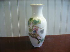 Vintage Hand painted Porcelain Bird and Grapevine Motif Vase Japan