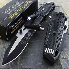 "8.5"" EMT TAC FORCE SPRING ASSISTED TACTICAL KNIFE w/ LED LIGHT Blade Pocket Open"