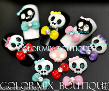 48pcs Colorful Skull & Bow Tie DIY 3D Resin Nail Art Cell Phone Decoration