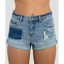 2015 NWT WOMENS BILLABONG HIGH SIDE ALL PATCHED UP DENIM SHORT $55 size M