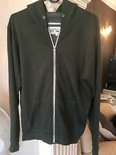 Mens Bottle Green Warm Jumper Cardigan Hoodie By Cedarwood State - Size Small
