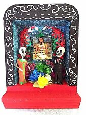 NICHO - DAY OF THE DEAD - FRIDA KAHLO WITH SKELETON COUPLE - OAXACA,  MEXICO