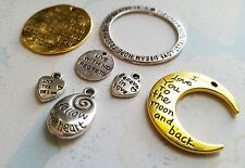 Quote Pendants Charms-Word Charms Pendants-Assorted Lot-Gold Silver Inspiration
