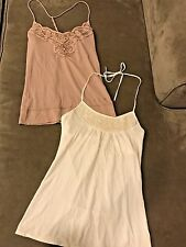 Abercrombie & Fitch Ezra Lot of Beaded Cotton Tee Halter Tops White Taupe Brown