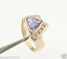 2.00ct Trillion Cut Natural Tanzanite Diamond Ring Real Solid 14K Yellow Gold
