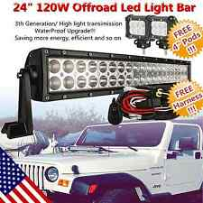 """24inch Curved Led Light Work Bar Flood Spot + 2x 4"""" CREE Pods Offroad SUV ATV 20"""