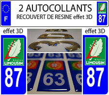2 stickers plaque immatriculation auto TUNING DOMING RESINE REGION LIMOUSIN 87
