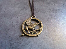 New Bronze Hunger Games Mockingjay Pendant Charm Necklace in Brown Cord