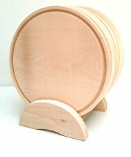 "Wooden Pizza plate set  6 piece in a stand ,solid beech chopping board 9,5"" wide"
