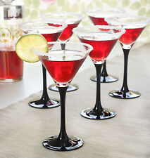Set of 6 Glass Tall Black Stem Martini Cocktail Glasses 260ml | Perfect Gift