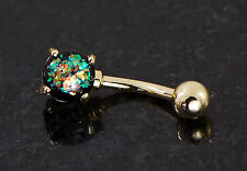 1 Pc Gold Plated Prong Set 6mm Dark Green Opal Glitter Belly Ring 14g 3/8""