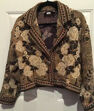 Painted Pony Women's Vintage Tapestry Medium Jacket  Floral Concho Chest 40