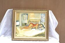 MAGNIFICENT FRENCH O/C POST IMPRESSIONIST PAINTING OF A NUDE SLEEPING GIRL