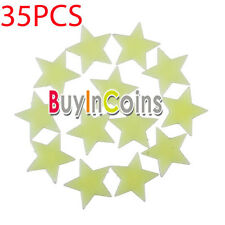 35Pcs Glow In The Dark Plastic Stars Stickers Ceiling Wall Room Christmas Decor