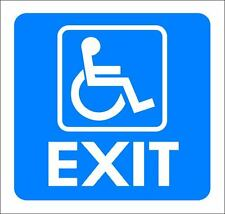 """(4""""x 4"""") ONE GLOSSY STICKER, """"WHEEL CHAIR EXIT"""", FOR INDOOR OR OUTDOOR USE"""