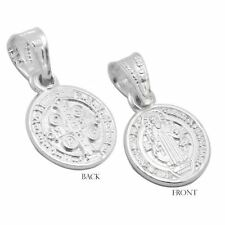 Sterling Silver 11mm San Benito St Benedict Protection Medal Pendant Extra Small