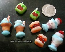 8 Fast food lampwork handmade beads milk shake sundae hamburger juice box gbs062
