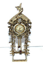 VINTAGE 1930'S TAYLOR CUCKOO CLOCK BROOCH WITH STAND WATCH - WORKS!