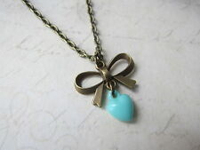 "Vintage Bronze Plated Pretty Bow And Plastic Heart 18"" Long Necklace Brand New"