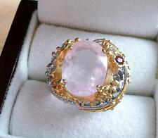 OVAL PINK ROSE QUARTZ & GARNET 925 STERLING SILVER GOLD RING SZ Q US 8.5
