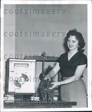 1955 Woman Demonstrates Generating Electricity From Stroking Cat Press Photo