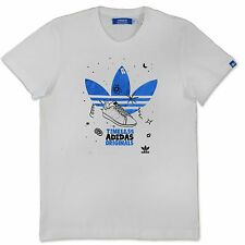 ADIDAS ORIGINALS MENS GOLDSTAN STAN SMITH TREFOIL T SHIRT WHITE BLUE O53822 S