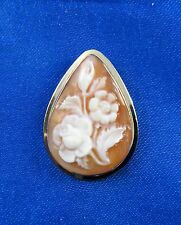 Antique Art Deco 14k Solid Yellow Gold Cameo Pin/Brooch Pendant