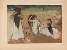 """1951 Vintage DEGAS """"WOMEN COMBING THEIR HAIR"""" LOVELY COLOR Art Print Lithograph"""