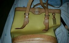 AUTHENTIC DOONEY & BOURKE CABRIOLET YELLOW AND LEATHER CANVAS BUCKET TOTE - EUC