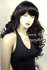 Long Curly Wig In Black /100% Japanese Fibre Brilliant Quality From Fumi Wigs UK