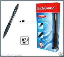 12 x ErichKrause Retractable Black Ballpoint Pens Fusion 0.7mm Soft Rubber Grip