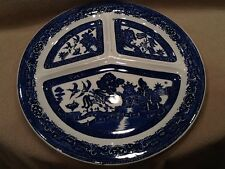 Blue Willow Grill Flow Blue Divided Dinner Plate 10in England Oven-Table Vintage