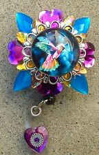 Gorgeous, colorful Hummingbird retractable badge holder/reel