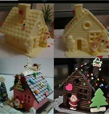 Christmas House Xmas Fondant Cake Mold Chocolate Decorating Baking Mould GT