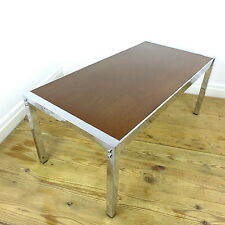 Vtg 70s Chrome & Wood Danish Style Coffee Table - Mid Century Retro Industrial