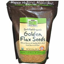 Now Foods Organic GOLDEN FLAX SEEDS - 2 lbs (907 Grams) FIBER Omega 3 Fatty Acid