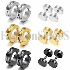 Men's Women Stainless Steel Non-Piercing Clip-on Charm Hoop Dumbell Earrings Set