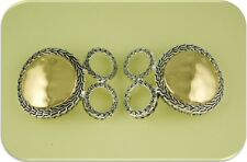 2 Hole Metal Beads #2 Two Tone Gold & Silver Hammered Circles & Braided Pattern