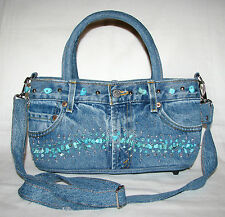 NEW BLUE DENIM JEAN & FAUX TURQUOISE STONE SATCHEL CROSSBODY,HAND BAG