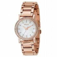 DKNY NY8121 White Mother of Pearl Rose Gold Toned Crystals Women's Steel Watch